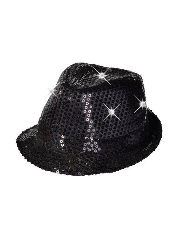 bd9a6862b74 Black Sequin Light Up 1920 s Gangster Fedora Hat