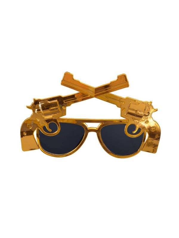 CUT-DRE-9915 Gold framed Cowboy Themed Western Guns Dark Novelty Sunglasses Costume Accessory Main Image
