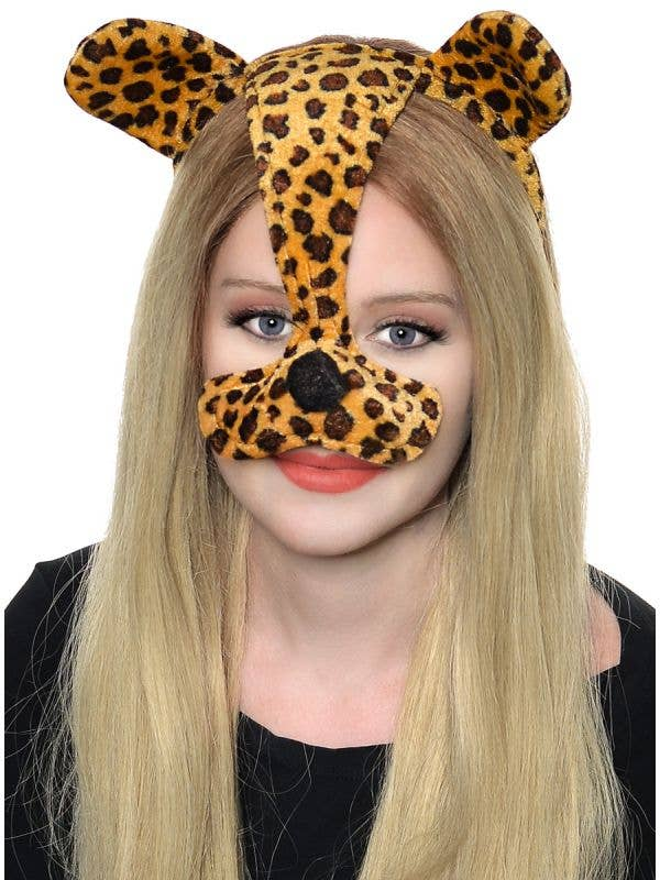Leopard Print Ears and Nose On Headband Costume Accessory