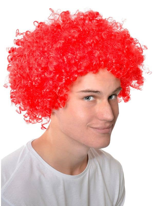Adults Red Clown Afro Costume Wig