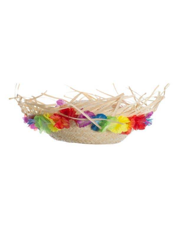 Straw Hawaiian Hat with Multicoloured Flowers Main Image