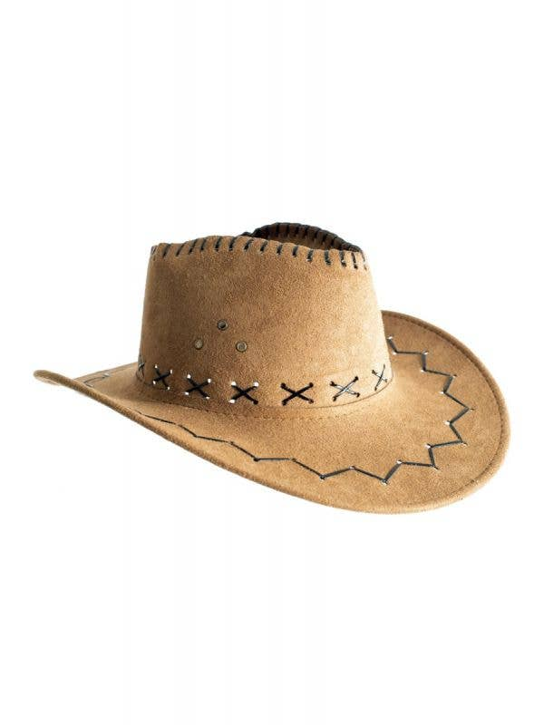 Faux Suede Brown Cowboy Unisex Costume Hat Accessory Main Image