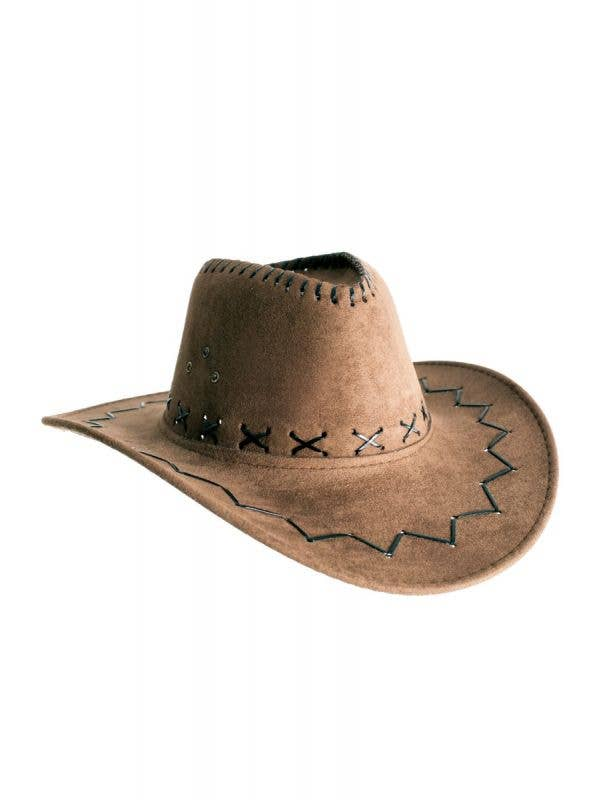 Medium Brown Faux Suede Cowboy Unisex Costume Hat Accessory Main Image