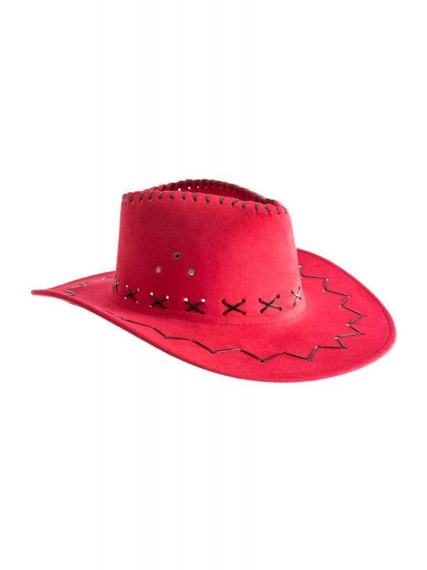 Cowboy Outback Faux Suede adults unisex pink Costume Hat Accessory Main Image