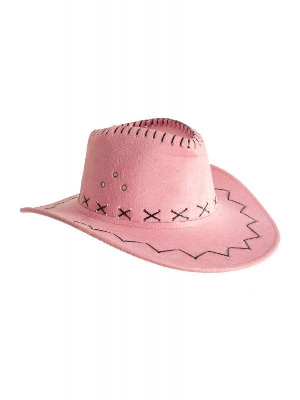 Cowboy Outback Faux Suede womens pink Costume Hat Accessory Main Image