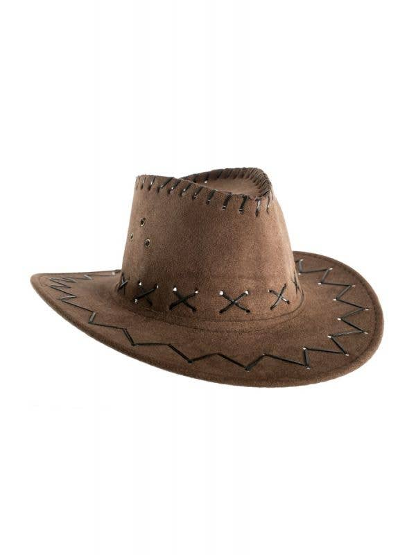 Brown Kids Boys Cowboy Outback Costume Accessory Hat Main Image