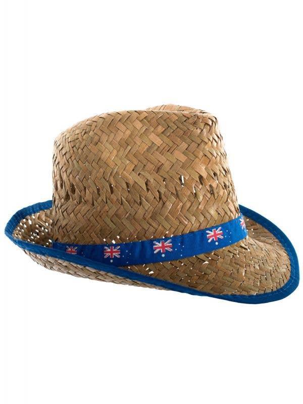 Brown Straw Fedora Australia Day Hat With Australian Flag Band