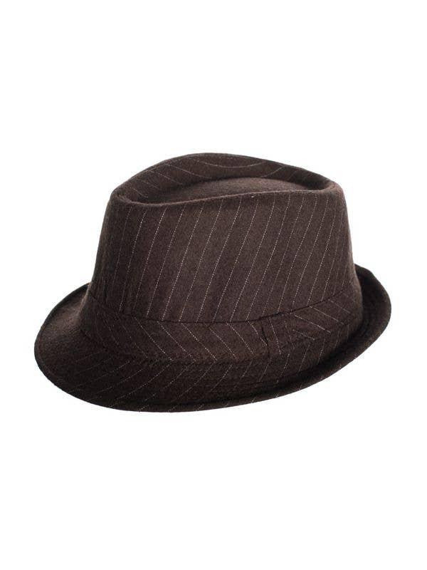 fd95396e8b0 Vintage Woollen Brown Pinstripe Fedora Hat | Brown Fedora Hat