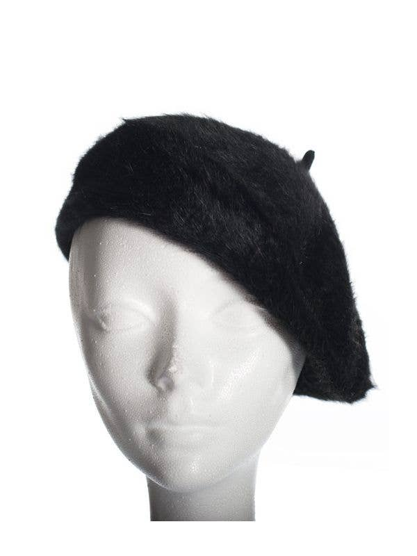 14c236a86eb43 Angora Wool Blend Black French Beret