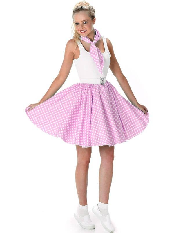 Pink and White Polka Dot 1950's Women's Costume View 1