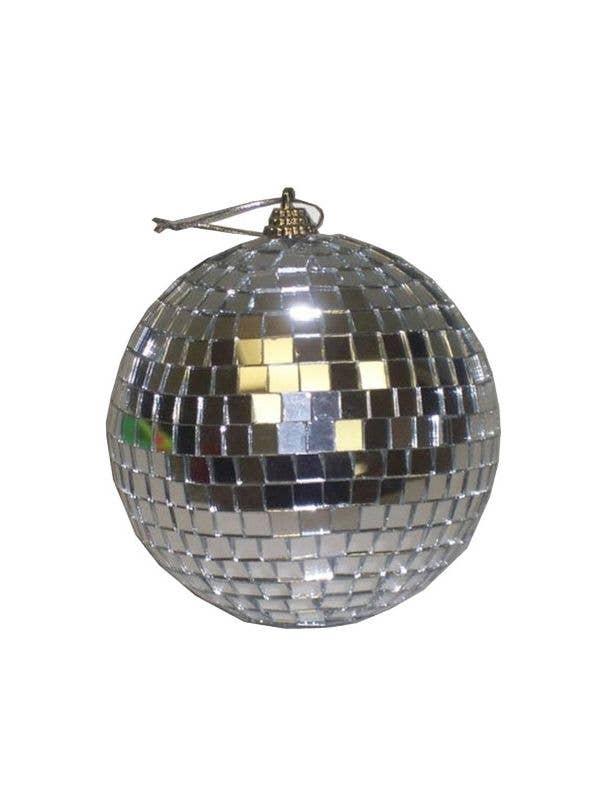Retro Silver Mirrored Mini Disco Ball Front View