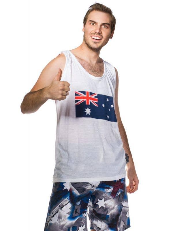 Men's Aussie Flag Printed Australia Day Tank Top Main Image