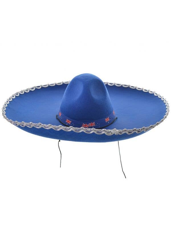 Large Blue Australian Sombrero Mexican Costume Hat Main Image