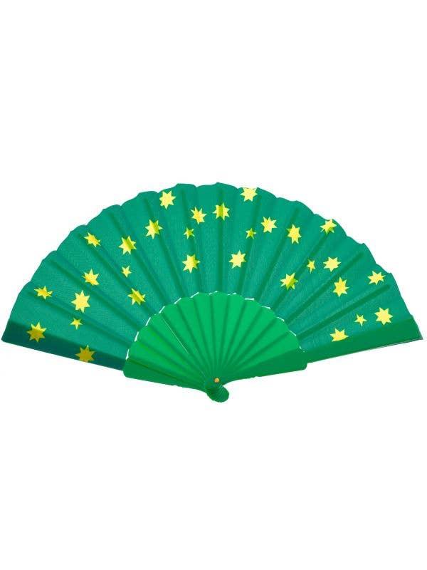 CUT SOU6698 Green and Gold Australia Themed Hand Fan Sports Fan Novelty Accessory Close - Main mage
