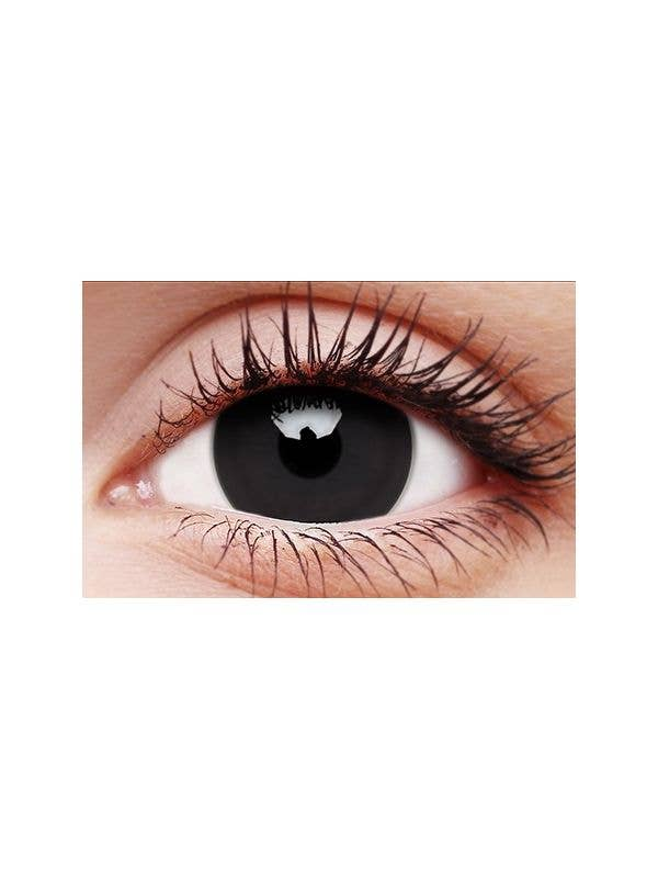 ColourVUE Titan Black 12 Month Wear 17mm Mini Sclera Contact Lenses Australia Halloween Costume Accessory - Main