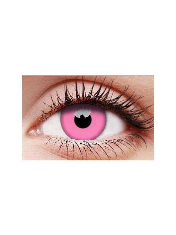 Neon Glow Pink 12 Month Wear Yearly UV Reactive Costume Contact Lenses Main Image