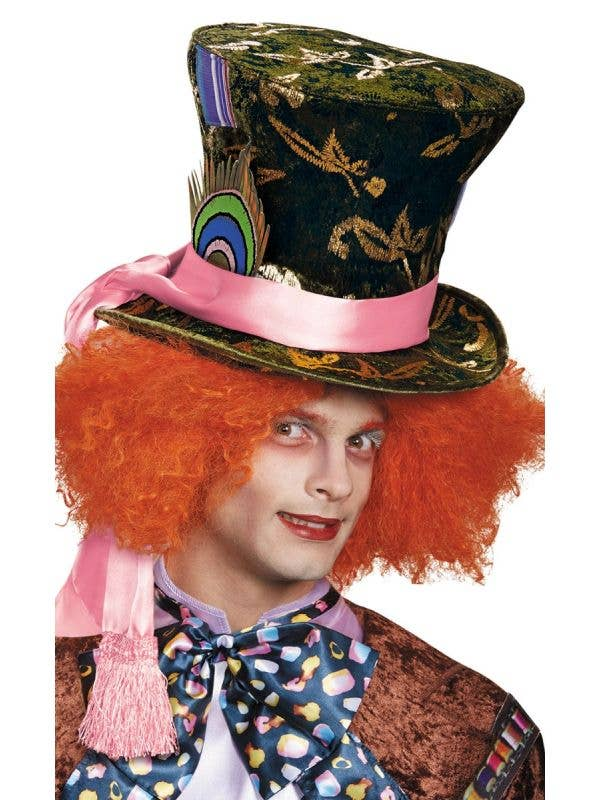 Green Velvet Mad Hatter Tim Burton Alice in Wonderland Costume Accessory Main Image