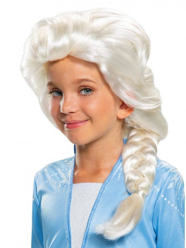 Girls Elsa Frozen 2 Platinum Blonde Wig with Braid