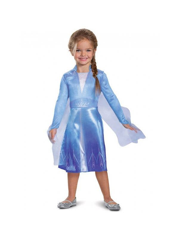 Girls Frozen 2 Classic Elsa Movie Character Costume Front Image