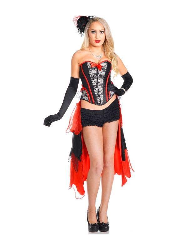 8cf62b922f Women s Red Burlesque Costume Corset Set Front View