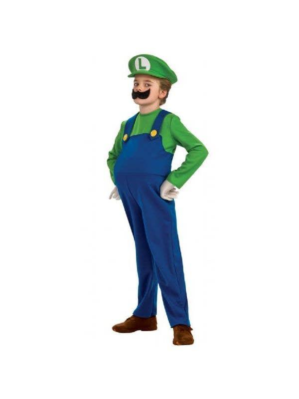 ab24a52d265a Luigi Boy's Deluxe Super Mario Video Game Costume Front