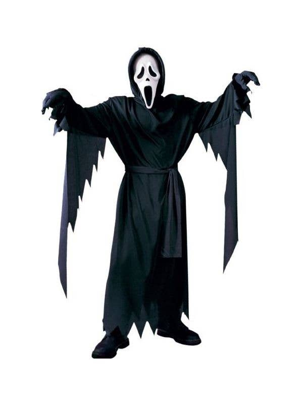 kids scream ghost face black halloween movie costume front