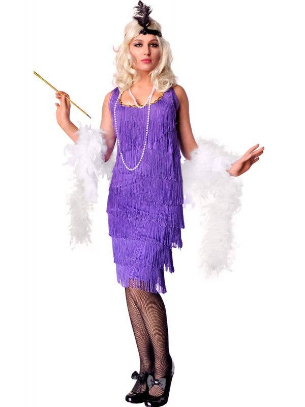 Women's Long Purple Flapper Costume Dress Front View
