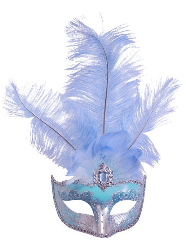 Pale Blue and Silver Women's Masquerade Mask With Tall Feathers Main Image