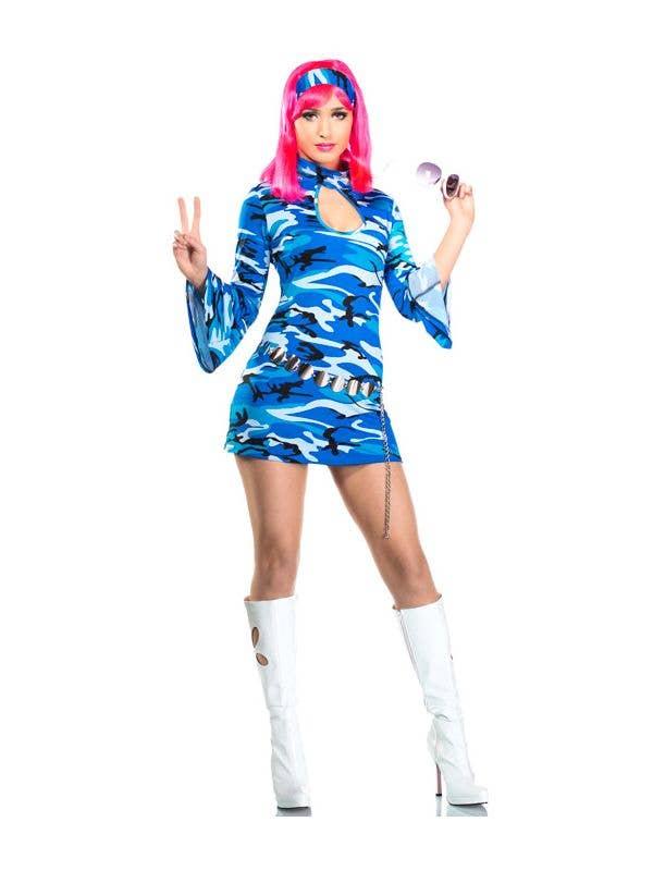 Womens Retro Blue Go Go Dancer 60s Dress Costume - Main Image