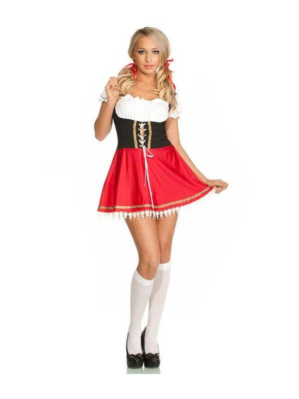 Women's Sexy Red Beer Wench Oktoberfest Costume Front Image