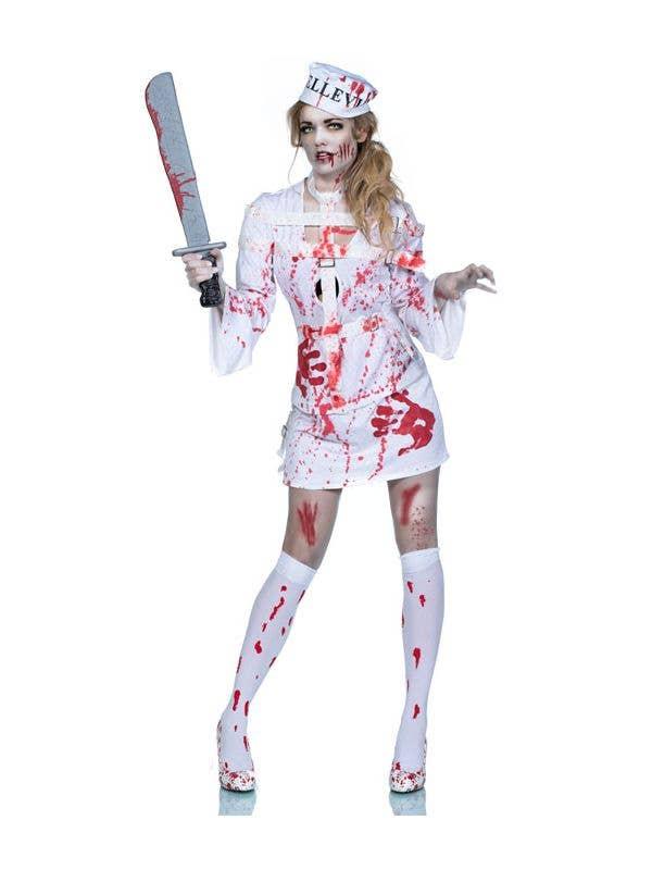 Women's Zombie Asylum Patient Halloween Costume Front Image