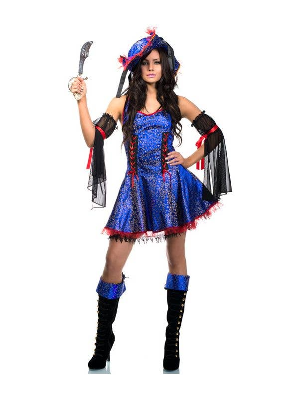 Women's Deluxe Sexy Blue Bounty Pirate Wench Fancy Dress Costume Front Image