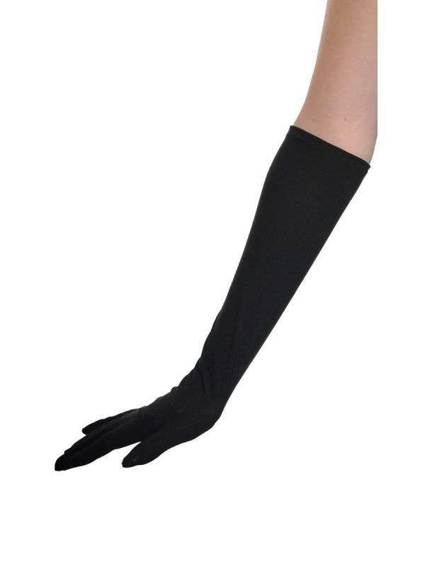 Basic Elbow Length Women's Long Black Costume Accessory Gloves