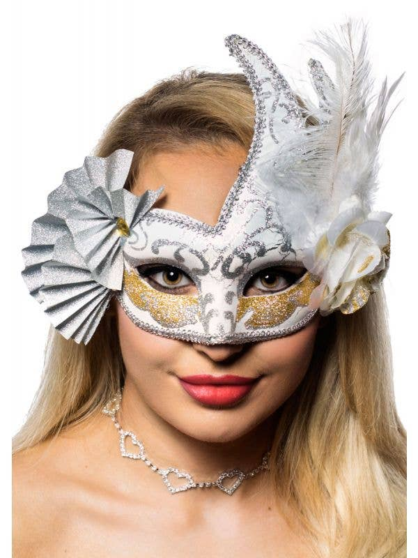 Luxury Feathers and Fans Women's Masquerade Mask View 1