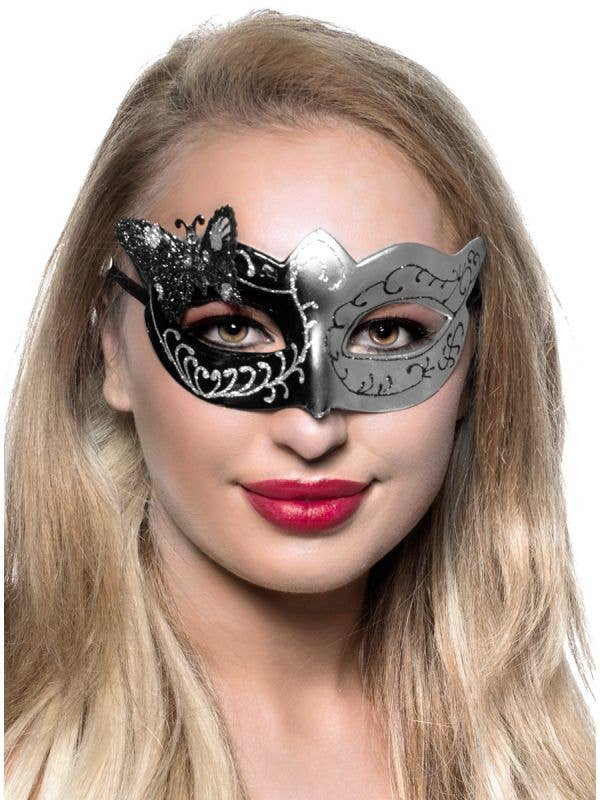 Silver and Black Glitter Butterfly Adult's Masquerade Mask Main View