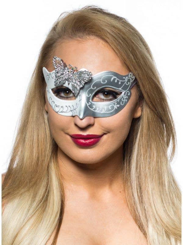 Silver And White Glitter Butterfly Masquerade Costume Mask Main Image