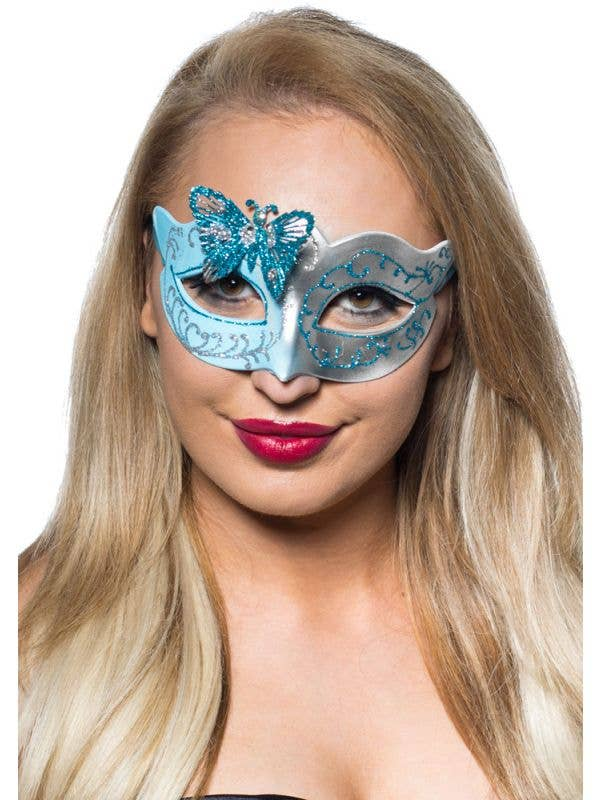 Womens Butterfly Venetian Mask in Pale Blue and Silver Genuine Elevate Costumes - Image 1
