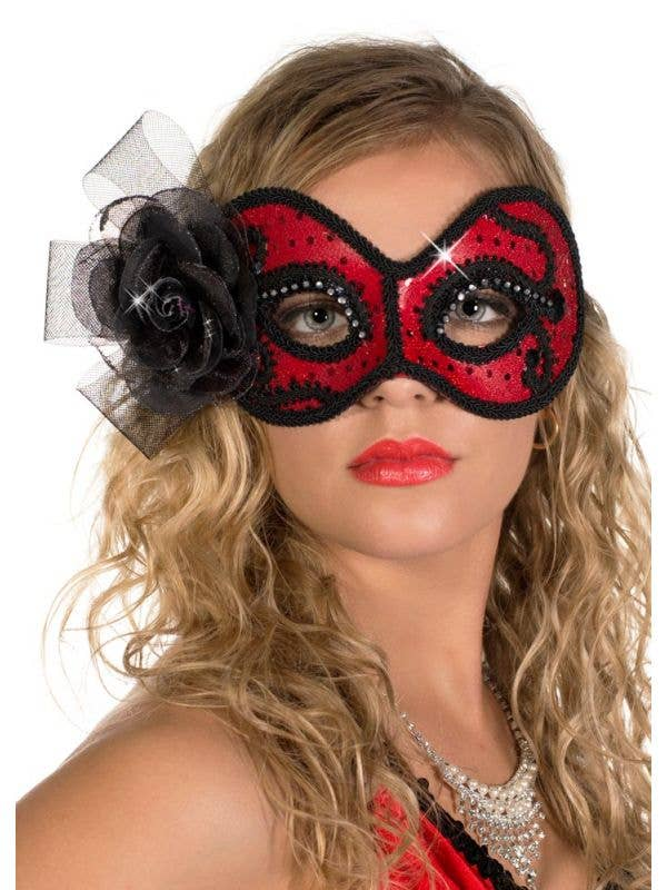 Red and Black Glittering Rose Masquerade Mask View 2
