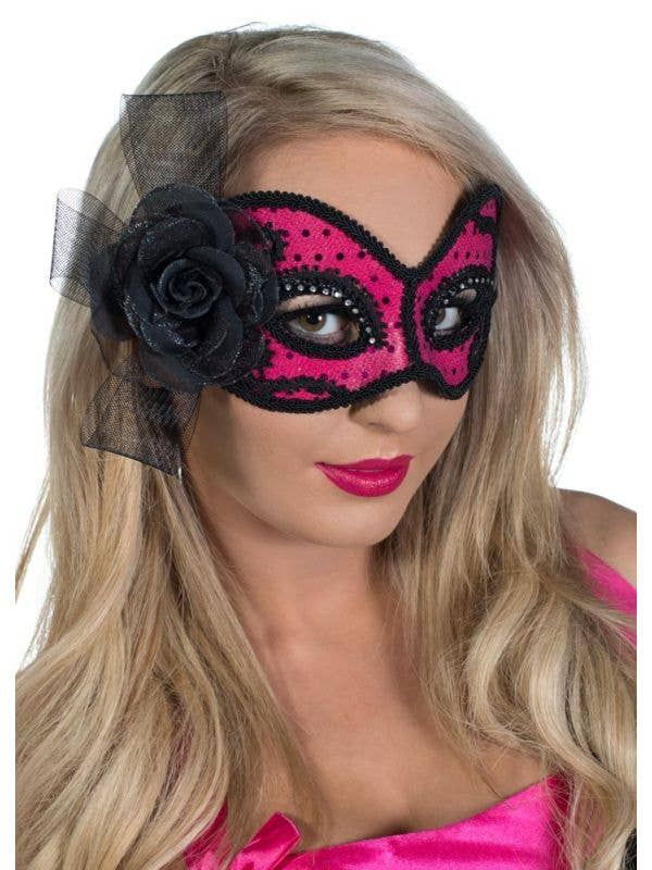 Hot Pink and Black Glittering Masquerade Mask View 2