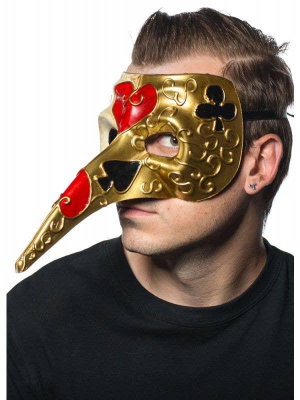 Men's Gold And Cream long Nose Card Symbol Venetian Mask Side