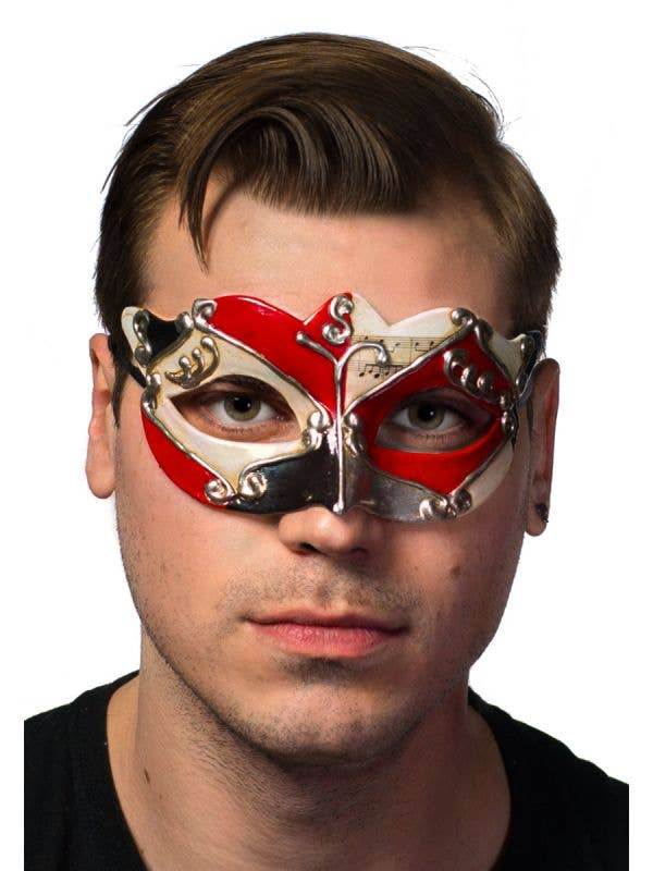 Antique Red Venetian Masquerade Mask For Men Main Image