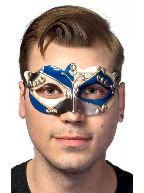 Antique Blue Venetian Masquerade Mask For Men Main Image