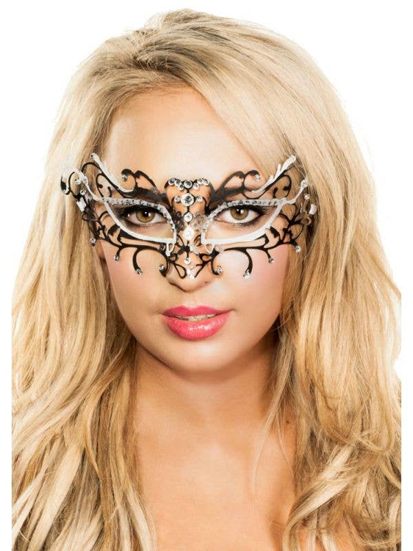 Women's Delicate Antique Metal Masquerade Mask With Rhinestones Main Image