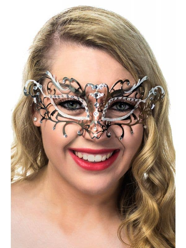 Women's Antique Style Silver Metal Masquerade Mask with White Glitter View 1