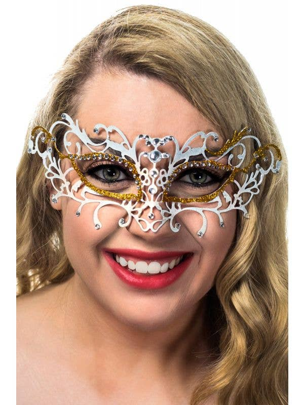 White and Gold Antique Laser Cut Metal Masquerade Mask View 1