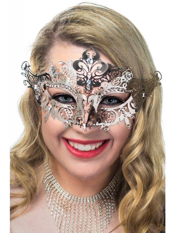 Women's Light Weight Silver Metal Masquerade Mask view 1