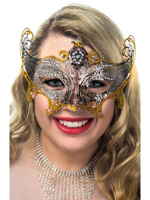 Deluxe Light Weight Laser Cut Metal Masquerade Mask in Silver and Gold View 1