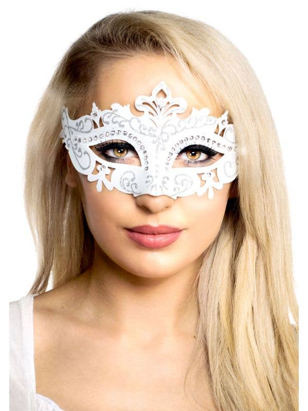 Women's White Cut Out Rhinestone Masquerade Costume Mask Main Image