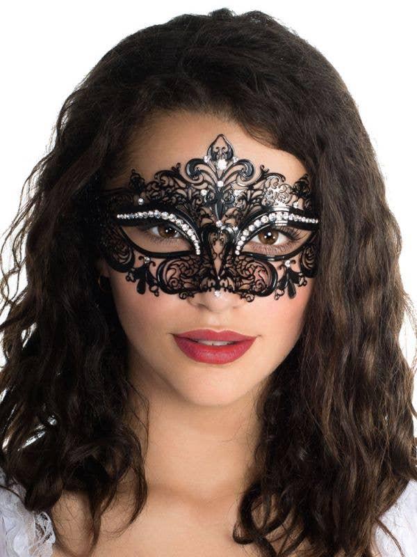 Fleur De Lis Women's Black Metal Masquerade Mask With Rhinestones Main Image