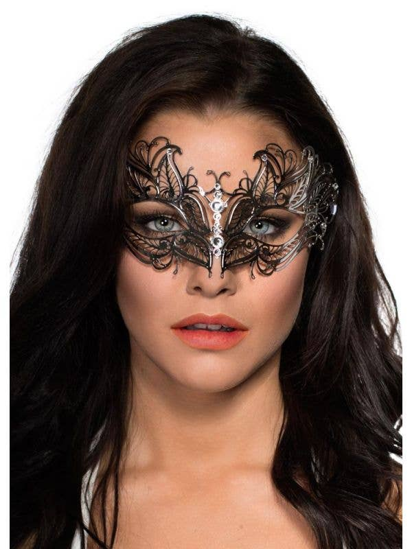 Women's Antique Butterfly Style Metal Fossils Masquerade Costume Mask In Silver With Diamontes Main Image